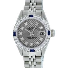Rolex Stainless Steel VVS Diamond and Sapphire DateJust Ladies Watch