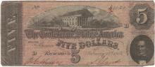 1864 $5 Confederate States of America Bank Note