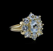3.33 ctw Aquamarine Ring - 10KT Yellow Gold