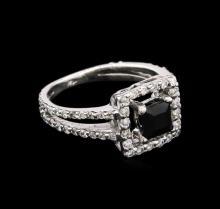 0.50 ctw Black Onyx and Diamond Ring - 14KT White Gold