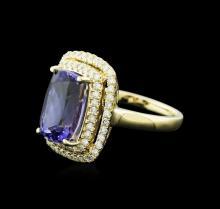 14KT Yellow Gold 4.89 ctw Tanzanite and Diamond Ring