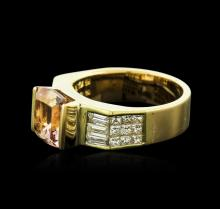 18KT Yellow Gold 2.87 ctw Morganite and Diamond Ring