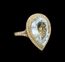 7.05 ctw Aquamarine and Diamond Ring - 14KT Yellow Gold