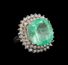 GIA Cert 16.44 ctw Emerald and Diamond Ring - 14KT White Gold