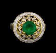 14KT Yellow Gold 2.09 ctw Emerald and Diamond Ring