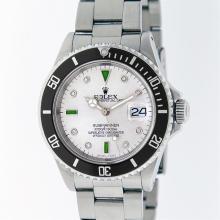 Rolex Stainless Steel Emerald and Diamond Submariner Men's Watch