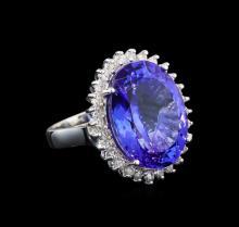 GIA Cert 19.71 ctw Tanzanite and Diamond Ring - 14KT White Gold
