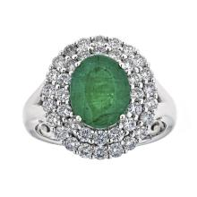 2.44 ctw Emerald and Diamond Ring - 18KT White Gold