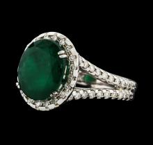 3.70 ctw Emerald and Diamond Ring - 14KT White Gold