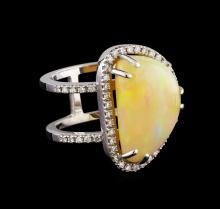 7.92 ctw Opal and Diamond Ring - 14KT White Gold