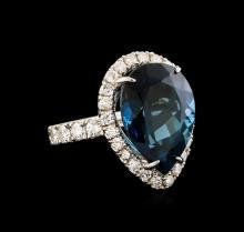 14KT White Gold 15.46 ctw Topaz and Diamond Ring
