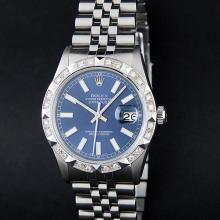 Rolex Stainless Steel Blue Diamond DateJust Men's Watch
