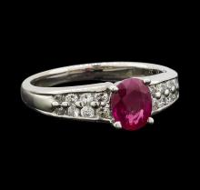0.60 ctw Ruby and Diamond Ring - Platinum