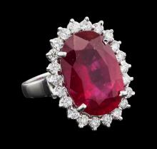 10.65 ctw Ruby and Diamond Ring - 14KT White Gold