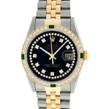 Rolex Two-Tone VVS Diamond and Emerald DateJust Men's Watch