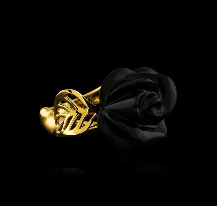 Black Onyx and Diamond Ring - 18KT Yellow Gold