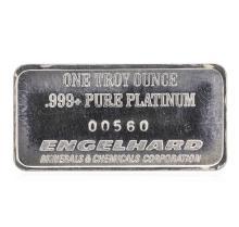 1 oz .999 Pure Platinum Bar