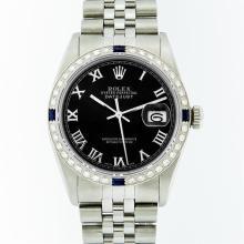 Rolex Stainless Steel Black Roman Diamond and Sapphire DateJust Men's Watch