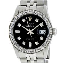 Rolex Mens Stainless Steel Black 8 + 2 Diamond Datejust Wristwatch