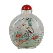 Large, Vintage Chinese Reverse Painted Snuff Bottle