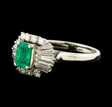 0.72 ctw Emerald and Diamond Ring - Platinum