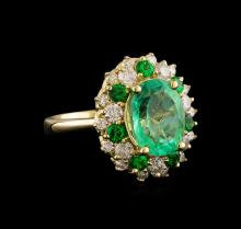 3.55 ctw Emerald, Tsavorite and Diamond Ring - 14KT Yellow Gold