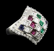 0.30 ctw Emerald, Ruby and Diamond Ring - Platinum