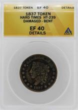 1837 Hard Times Not One Cent Token ANACS XF40 Details