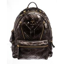MCM Gunmetal Gray Leather Studded Special Edition Large Backpack