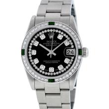 Rolex Stainless Steel Diamond and Emerald DateJust Midsize Watch