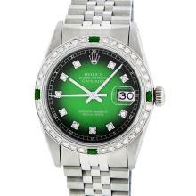 Rolex Mens Stainless Steel Green Vignette Diamond And Emerald Datejust Wristwatc