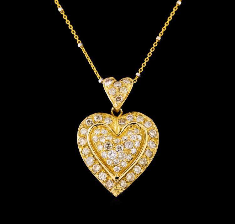 14KT Yellow Gold 0.85 ctw Diamond Heart Pendant With Chain