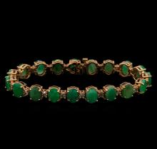 14KT Rose Gold 20.90 ctw Emerald and Diamond Bracelet