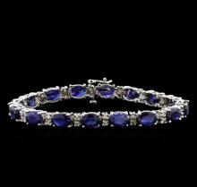 23.22 ctw Blue Sapphire and Diamond Bracelet - 14KT White Gold