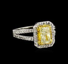 1.90 ctw Fancy Light Yellow Diamond Ring - 14KT Two-Tone Gold