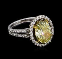 14KT White Gold 4.74 ctw Fancy Yellow Diamond Ring