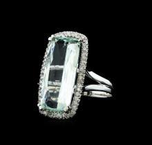 GIA Cert 9.59 ctw Aquamarine and Diamond Ring - 14KT White Gold