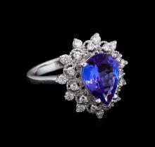 2.58 ctw Tanzanite and Diamond Ring - 14KT White Gold