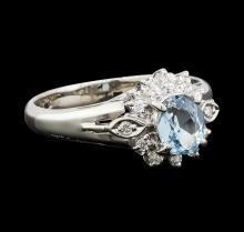 0.66 ctw Aquamarine and Diamond Ring - Platinum