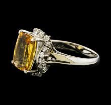 4.24 ctw Imperial Topaz and Diamond Ring - Platinum
