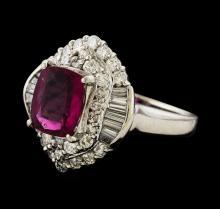 2.45 ctw Pink Tourmaline and Diamond Ring - Platinum