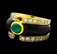 0.86 ctw Emerald and Diamond Ring - 18KT Yellow Gold