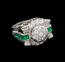 1.64 ctw Diamond and Emerald Ring - Platinum