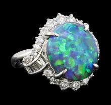 6.10 ctw Black Opal and Diamond Ring - Platinum