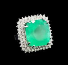 GIA Cert 20.96 ctw Emerald and Diamond Ring - 14KT White Gold