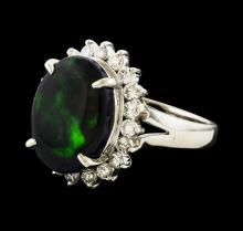 4.08 ctw Black Opal and Diamond Ring - Platinum