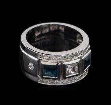 0.54 ctw Blue Topaz and White Sapphire Ring - .925 Silver