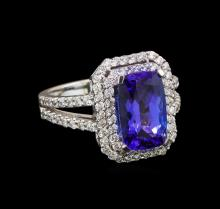 14KT White Gold 3.58 ctw Tanzanite and Diamond Ring