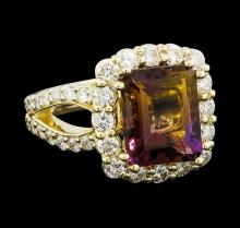 4.56 ctw Ametrine Quartz and Diamond Ring - 14KT Yellow Gold