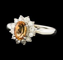 1.12 ctw Imperial Topaz and Diamond Ring - Platinum